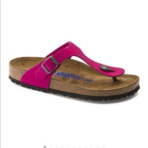 Pink Leather Birkenstock Gizeh Sandals